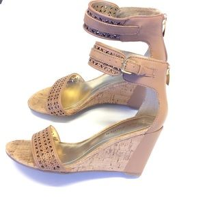 MARC FISHER Leather and Cork Wedge Heel Size 5